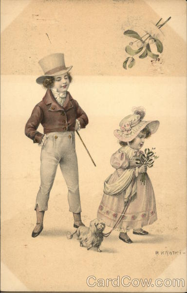 Illustration - Boy and Little Girl with Dog Children