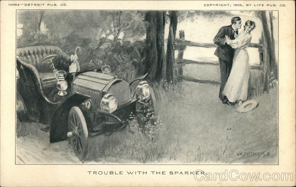 Trouble with the Sparker - Vintage Automobile and Romantic Couple