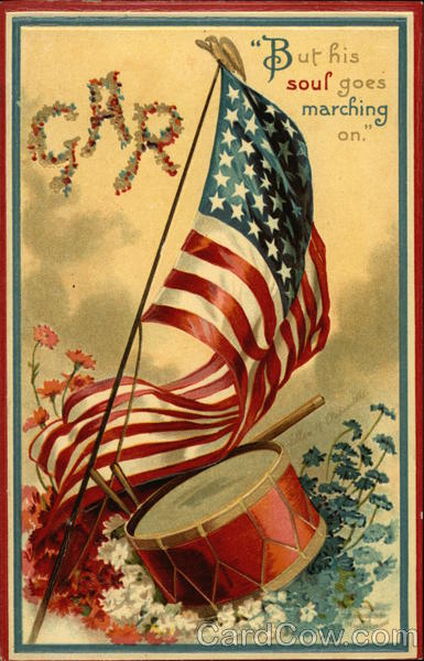 USA Flag with Drum and Red, White, and Blue Flowers