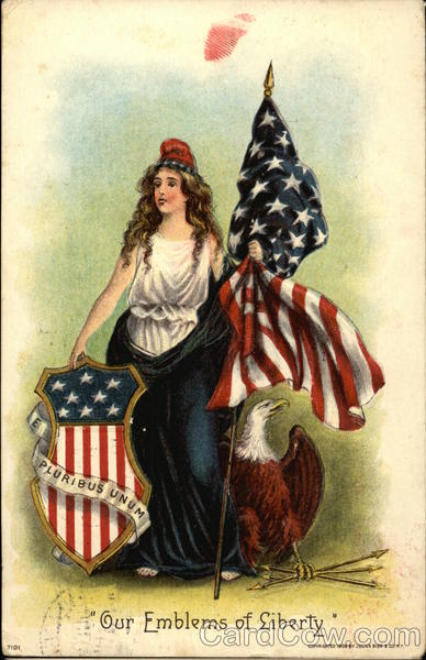 Our Emblems of Liberty - With Woman holding Flag beside Eagle