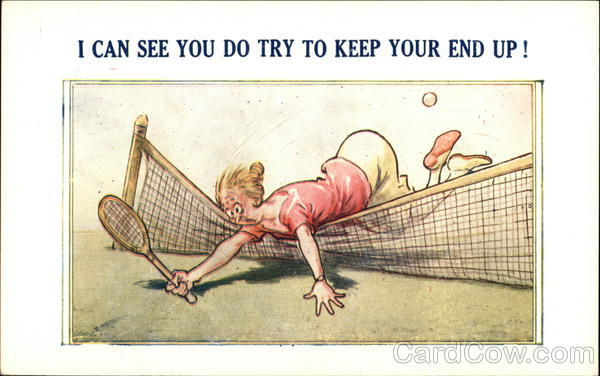 Woman Falling Over Tennis Net Comic, Funny