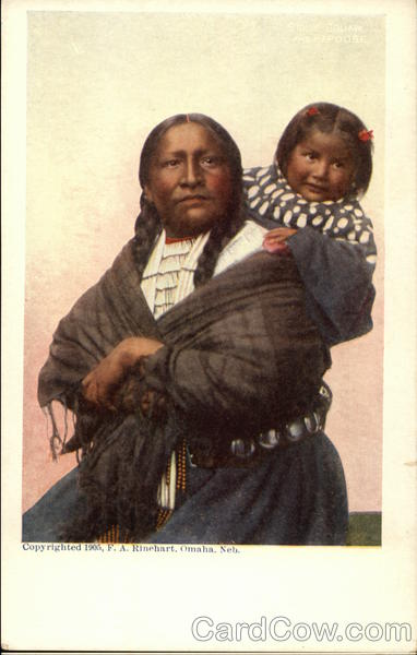 An American Indian Woman carrying a Child on Her Back