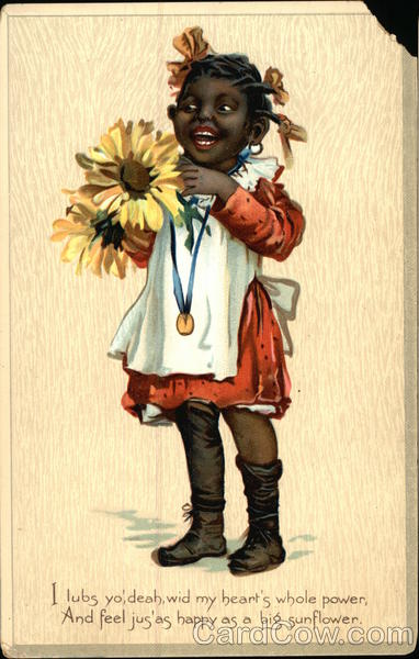 I lubs yo', deah, wid my heart's whole power - Young Black Girl holding Sunflowers