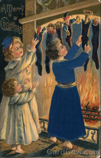 A Merry Christmas with Mother and Girls Taking Down Filled Stockings
