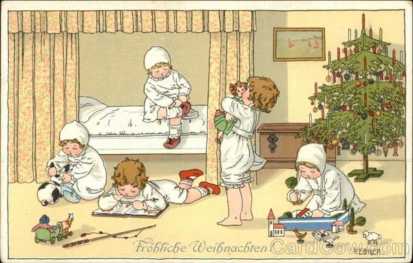 frohliche weihnachten children postcard. Black Bedroom Furniture Sets. Home Design Ideas
