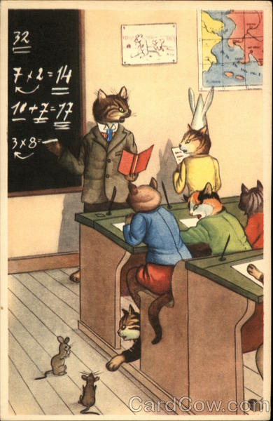 Anthropomorphic Cats in Classroom