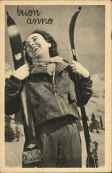 Buon Anno - Woman Holding Skis
