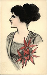 Watercolor Painting of a Woman Profile with Red Flowers