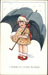 Illustration - Girl Under Big Black Umbrella