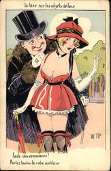 Scantily Clad Woman with Male Admirer - French Language
