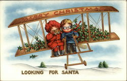 Illustration of Children Flying an Airplane with Mistletoe