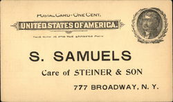 Advertisement and Order Sheet for S. Samuels in New York
