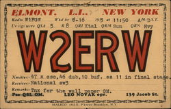 Amateur Radio Station Card - W2ERW Elmont, NY