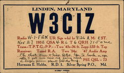 QSL & Ham Radio Card for Linden, Maryland W3CIZ