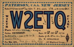 Paterson, NJ Ham Radio Station W2ETQ