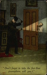 A masked burglar and a man peeking out from behind a door Postcard