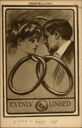 the heads of a couple, entwined in the links of a chain