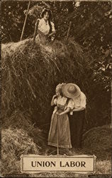 Couple Kissing Under Haystack