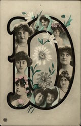 Letter D with Faces of Women and Flowers
