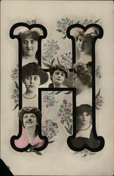 Letter H with Women's Faces