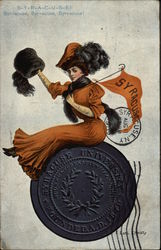 Syracuse University Woman with Flag on Emblem