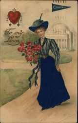 To My Love - Columbia Pennat and Girl in Blue Holding Bouquet