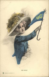 UC Woman Wearing a Hat and Waving a Flag