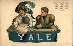 Yale - Man and Woman Holding Yale Pennant