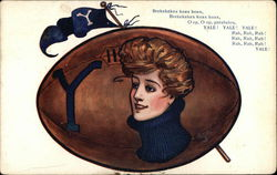 Yale University - Football With Insignia, Penant and Woman in High Blue Collar