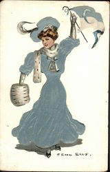 Columbia University Girl Waving Pennant