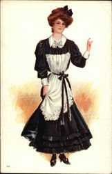 Woman in Black Dress and White Apron