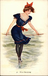 """Miss Seashore"" - Ocean Pose in Sailor Themed Attire Postcard"
