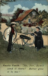 Clergyman Fixing Bicycle
