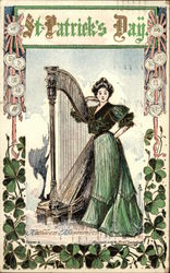 Woman in Green Dress with Harp