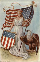 Woman with Flag, Shield, Eagle