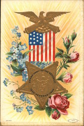 Star, Flag, Flowers and Eagle Representing the Grand Army of the Republic Veteran