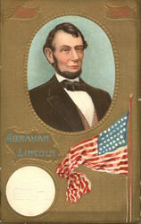 Abraham Lincoln with a USA Flag Postcard