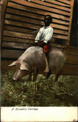 A Horseless Carriage - Black Boy riding Pig