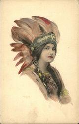 Painting of woman in Native American headdress