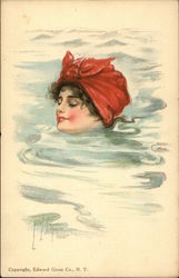 Woman Swimming up to Neck in Water, Red Scarf