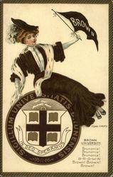Brown University College Girl, Flag, Shield, Cheer