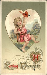 A Loving Thought with Cupid, Hearts, and Arrows