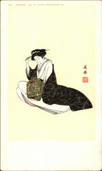 Japanese Painting of Woman in Flowing Dress