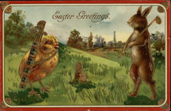 Easter Greetings Chick and Rabbit Playing Golf
