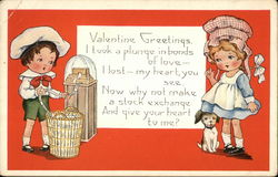 Valentine Greetings - Boy Reading Stockticker and Girl with Dog