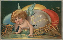 Easter Greeting with Cherub and Colored Eggs