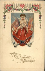 Cupid Riding Heart Pulled by Doves