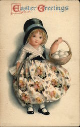 Easter Greetings with Young Girl Holding Egg Basket