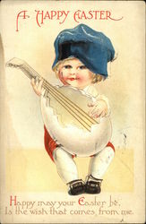 A Happy Easter - Young Boy in Blue Hat Playing Mandolin