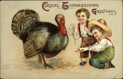 Cordial Thanksgiving Greetings with Two Boys and a Turkey